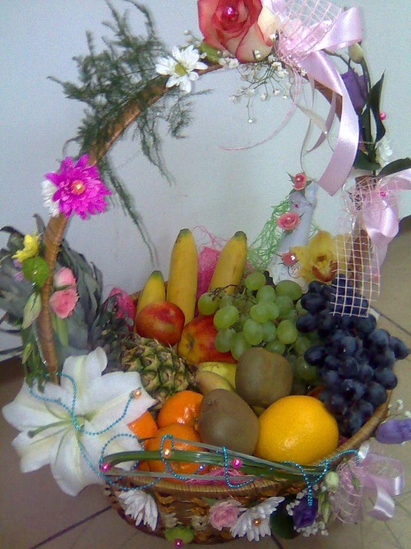 Как оформить корзину с фруктами своими руками фото